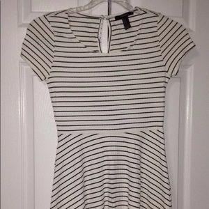 Forever 21 Black and White Striped Skater Dress